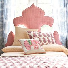 Moroccan Silhouette Headboard - Design photos, ideas and inspiration. Amazing gallery of interior design and decorating ideas of Moroccan Silhouette Headboard in bedrooms, closets, living rooms, girl's rooms by elite interior designers. How To Make Headboard, Pink Headboard, Headboard Shapes, Custom Headboard, Upholstered Headboards, Bohemian Headboard, Fabric Headboards, Bohemian Bedrooms, Headboard Decor