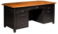 Amish Kensing Executive Desk Sit at a solid wood executive desk and smile! The Kensing is built to work hard and look stunning. Built in choice of wood, stain and hardware. Amish made in America. #desks #wooddesk #executivedesk