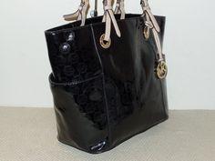 Michael Kors Jet Set Monogram Signature Tote Black Patent Leather Handbag $58.5 Patent Leather Handbags, Black Patent Leather, Handbags Michael Kors, Michael Kors Jet Set, Bucket Bag, Monogram, Womens Fashion, Black Leather, Michael Kors Purses