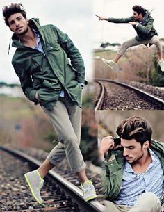 Green jacket and sneaker with sporty looks http://www.stylewarez.com