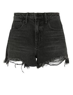 Alexander Wang Bite High Rise Frayed Aged Shorts: The perfectly worn in denim cut offs. Denim Shorts Style, Denim Cutoff Shorts, Distressed Denim Shorts, High Waisted Shorts, Grey Shorts, Short Shorts, Jean Shorts, Levis Short, Short Jeans