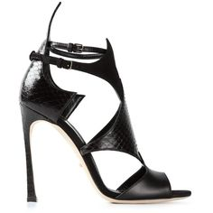 Sergio Rossi cut out stiletto sandals ($555) ❤ liked on Polyvore featuring shoes, sandals, black, leather sandals, black leather shoes, kohl shoes, genuine leather shoes and cutout sandals
