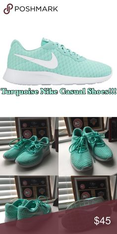 Turquoise Nike Tanjun SE Casual Shoe Super comfy shoes with a gorgeous color! Only worn once, but unfortunately was stained near the tip of the shoe. Its very faint and you see it less in person.   Size: 8 Womens  SMOKE FREE 🚭 HOME W/ A HYPO-ALLERGENIC DOG 🐶  *All items are washed before shipment. Nike Shoes Athletic Shoes