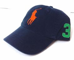 New$49 POLO RALPH LAUREN HAT Navy Blue Green Orange Pony#3 1967 Men/