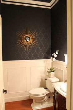 black bathroom - matte black with a glossy black pattern