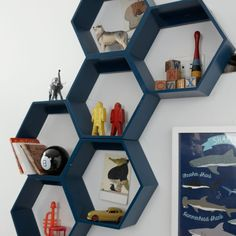 When designing these honeycomb wall shelves, we thought it was a great idea to make them a unique shape that can be oriented in any direction. We thought it was a bad idea to include a complimentary bee colony. Gamer Bedroom, Boys Bedroom Decor, Kids Bedroom Boys, Bedroom Furniture, Toddler Boy Bedrooms, Teenage Boy Bedrooms, Preteen Boys Room, Teen Playroom, Teen Boys Room Decor