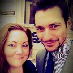 David Gandy with fans during London Collections Men on June 15, 2015.
