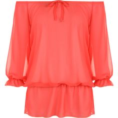 Rin Chiffon Gypsy Off Shoulder Top ($22) ❤ liked on Polyvore featuring tops, shirts, coral, plus size, plus size tops, red shirt, 3/4 sleeve tops, off shoulder tops and women plus size tops