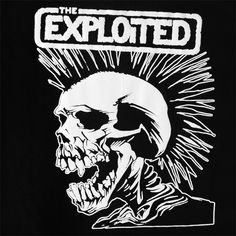 (^o^) The Exploited logo was created by artist Pushead Lamort Schroeder in 1983. It was originally done as an album cover, but had so much impact that it was adopted as the band logo. This Scottish punk band's logo is one of the very best I've seen emblazoned across black leather jackets. The skull with a mohawk has enough detail to provide some depth, but simple black & white execution make it easy enough to reproduce, which is an important element for the propagation of any punk l Misfits Tattoo, Punk Tattoo, Arte Punk, Band Stickers, Rock Band Logos, Punk Jackets, Heavy Metal Music, Graphic Design Posters, Punk Rock