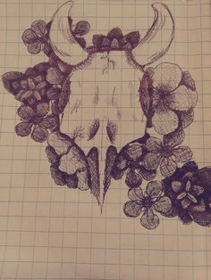 Skull and flowers. Drawing I made during class