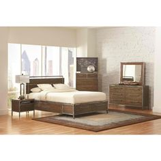 Coaster Arcadia Industrial Platform Bedroom Set in Weathered Acacia