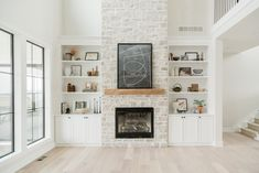 Living Spaces - Oakstone Homes Built In Around Fireplace, Fireplace Built Ins, Home Fireplace, Fireplace Design, Modern Stone Fireplace, Fireplaces, Living Room Remodel, Home Living Room, Living Room Designs