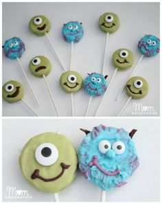 Mike & Sulley Monsters Pops from MomEndeavors - Top Trends Monster Inc Birthday, Monster Party, Cake Push Pops, Cake Pops, Sully Cake, Disney Candy, Monster University Party, Monsters Inc Baby, Mike And Sulley