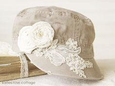 Tan Hat with Lace & Roses (maybe I could do that to my hat and cover the paint stains)