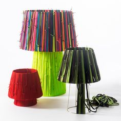 These cool colorful lamps are made of shoelaces! Read more on LightsOnline Blog.
