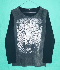 LongSleeve Vintage 80s 90s Leopard Tiger Stone by BlackTeenFashion LongSleeve Vintage 80s 90s Leopard Tiger Stone Wash wildlife black bleached shirt Animal tshirt crew neck winter star tiger size s m l xl $17.99 USD