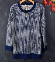 Chevron Navy-Beige Sweater