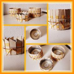 Porta velas con latas de atun, pinzas de ropa, o maderitas que tengas por casa, este en tonos dorado y plata .../ DIY By Luz Arias...