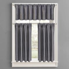 Product Image for Twilight Polyester Window Curtain Tier Pair and Valance in Grey 1 out of 2