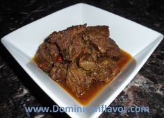 Dominican style Stewed Beef/Carne de Res Guisada | Delicious Dominican Cuisine I followed this recipe today adding 1 cup of beef stock to it to put it on the crock pot! The result was AMAZING!!
