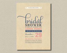 Printable Bridal Shower Invitation - Vintage pink and blue poster design (BD01). $18.00, via Etsy.