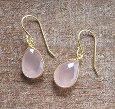 Pink Quartz Earrings Rose Quartz Earrings Pink Gemstone by Belesas, $29.99