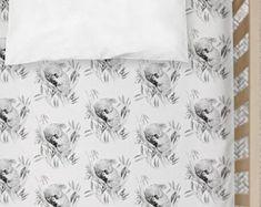Cot Sheets Sleepy Koala Print | Fitted Cot Sheet or Bassinet Sheet | Australian Native Animal | Kona Cotton, Organic Cotton