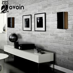 Vintage Embossed Wallpaper Brick Wall Roll Modern Grey White 3D Effect Brick Wallpaper For Walls,Living room Background Covering