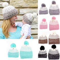 8e3b8f6b07f Color Knitted Mom And Baby Beanie Mom And Baby Outfits