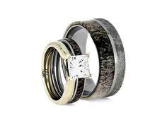 Moissanite Bridal Set in 10k White Gold, Deer Antler Engagement Ring With Matching Wedding Band, Commitment Wedding Ring Set