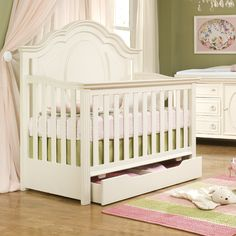 Such a pretty convertible crib for baby girl!