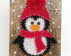 This item is unavailable Merry Penguin String Art. Made to Order - This item is unavailable Merry Penguin String Art. Made to Order - String Art Diy, String Crafts, Resin Crafts, String Art Templates, String Art Patterns, Crafts For Kids, Arts And Crafts, Penguin Craft, Christmas Art
