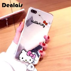 US $1.96 -- AliExpress.com Product - New Mirror Cases Lovely Hello Kitty Ultra Slim Clear Plating Soft Gel Phone Cases For iPhone 7 7Plus 6 6s Plus 6plus 5 5s Cover