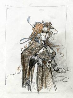 regis loisel art | Loisel Quête crayonné par Régis Loisel - Illustration