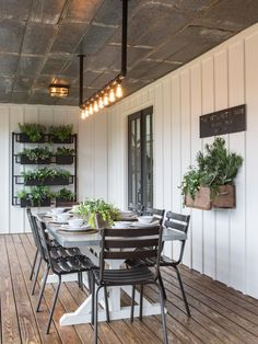 Chip and Joanna Gaines Transformed This Old Shack into a Dream Farmhouse Home Decor / Decorating / Dream Home / Farmhouse Decor / Farmhouse Inspiration / Backyard Inspiration / Farmhouse Patio / Outdoor Dining House Design, Farmhouse Dining, Home, House With Porch, Dining Room Design, Farmhouse Design, Porch Design, Modern Farmhouse Exterior, Farmhouse Patio