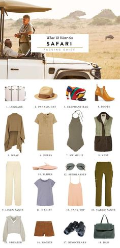 everything to pack for an african safari vacation including safari women outfits ideas and advice on what to wear for safari in south africa. south africa travel, safari photography, safari photo equipment, how to photograph a safari Your Wildest Dreams Safari Chic, Mode Safari, Travel Couple Quotes, Best Travel Clothes, Travel Clothes Women, Safari Outfits, Safari Clothes, Safari Outfit Women, The Journey