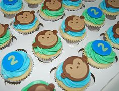 monkey cupcakes for a 2nd birthday party by Simply Sweets Cake Studio (Scottsdale, AZ)