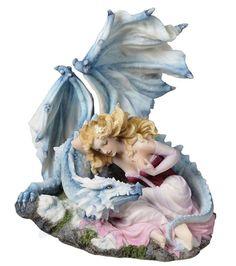 "7.5"" UNBREAKABLE BOND Statue Fairy & Dragon Fantasy Sculpture Home Decor"