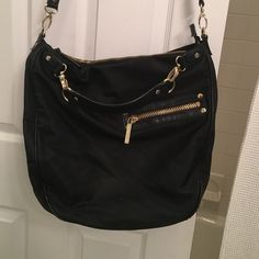 Olivia and joy black satchel bag Olivia and joy black satchel bag with long and short straps, gold detail and inside and outside pockets. Great condition, hardly used. Olivia + Joy Bags Shoulder Bags