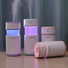 Creative Pull-out Design Air Humidifier with LED Lights Ultrasonic Cool Mist Maker Air Purifier for Car Mini USB Aroma Diffuser Portable Humidifier, Small Humidifier, Humidifier Essential Oils, Essential Oil Diffuser, Cadeau High Tech, Portable Air Purifier, Kawaii Room, Cute Room Decor, Decorating Rooms