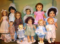 Vintage dolls from 1930's-1950's ....the tall red headed doll is just like my Mom's doll when she was little.