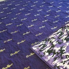 Queen Size Crown Royal Quilt with Custom Purple Camo Backing per the Customer's Request