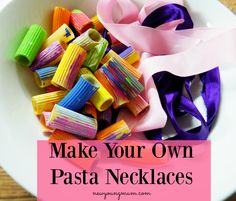 Pasta necklaces - creative development, fine motor skills (threading), could incorporate counting and patterns. Playgroup Activities, Fun Activities For Toddlers, Valentine Activities, Work Activities, Creative Activities, Motor Activities, Nursery Activities Eyfs, Counting Activities Eyfs, Dementia Activities