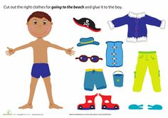 Worksheets: Beach Boy Paper Doll