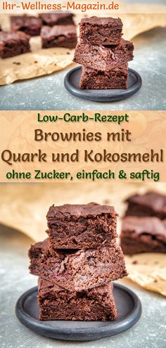 Low-Carb-Brownies mit Quark und Kokosmehl - einfaches Rezept ohne Zucker Juicy brownies with curd and coconut flour: Simple low-carb recipe for healthy curd brownies without sugar and cereal flo Health Desserts, Easy Desserts, Easy Dinner Recipes, Dessert Recipes, Easy Meals, Brownie Recipes, Dessert Simple, Brownies Sains, Baby Food Recipes