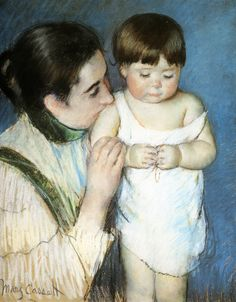 "Mary Cassat's intimate portrayal ""Young Thomas And His Mother""."