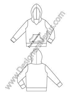 V20 Kangaroo Pocket Hoodie Kids Flat Fashion Sketch - Designers Nexus