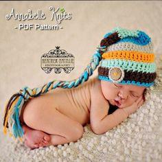 CROCHET PATTERN Elf Hat PDF instant Download Newborn Photo Prop Stocking Hat Stripped hat Beanie Crochet Baby Boy Girl Unisex Aqua