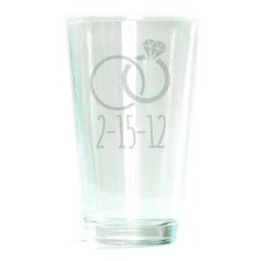 Pub Glass - 16oz - Wedding Rings Personalized