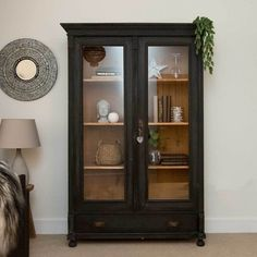 Vintage Cabinet, Black Storage Unit by Ineko Home in Other Cabinets Black Display Cabinet, Display Cabinets, Cabinet Storage, Black Cabinet, Black China Cabinets, Living Room Display Cabinet, Wood Storage, Cabinet Furniture, Wood Furniture